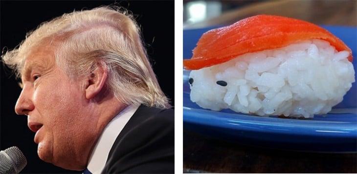 Donald Trump junto a una pieza de Sushi