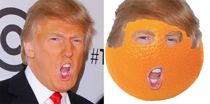 Fotografía de Donald Trump junto a su cara en una naranja