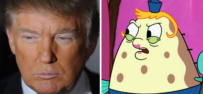 Donal Trump parecido a la Sra. Puff de Bob esponja