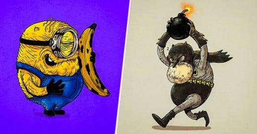 Ilustraciones de la cultura pop recrean el tiempo y la vejes
