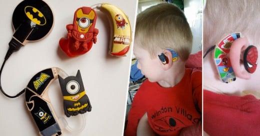 Una super Madre diseña super heroes para el aparato auditivo de su pequeño hijo