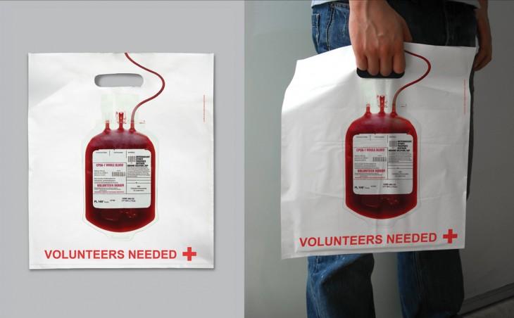bolsa de plástico con el diseño de una transfusión de sangre