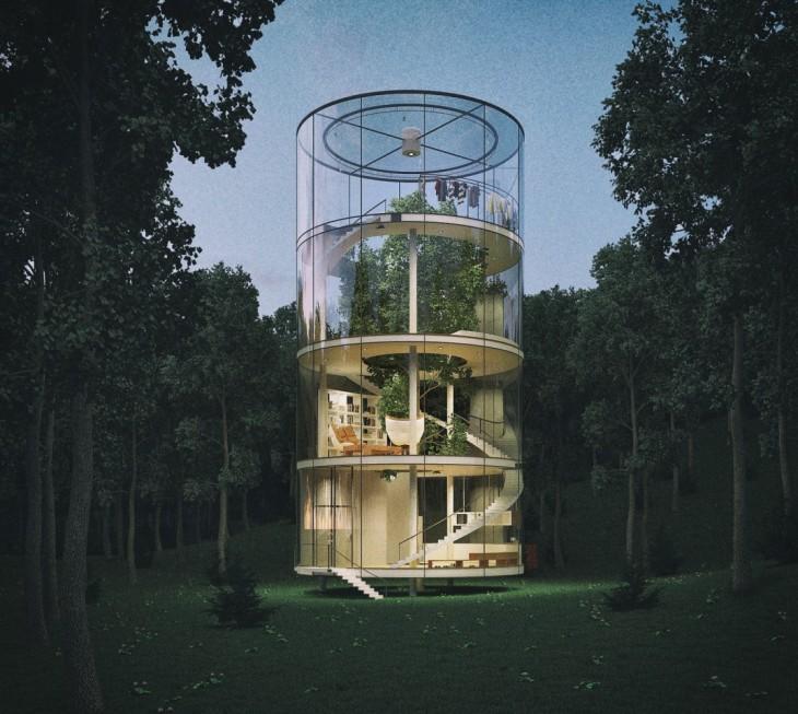 casa construida alrededor de un árbol en el bosque