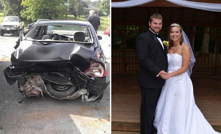 la historia de esta pareja retrocedio por culpa de un accidente de auto