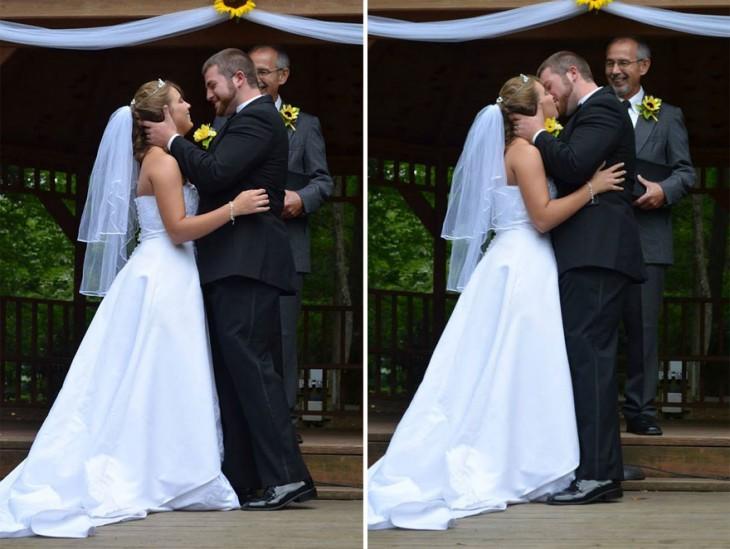 posando frente al juez justo en el momento de la boda