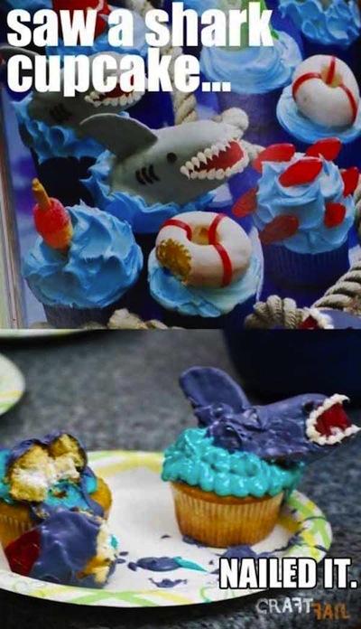 Cupcakes configuras de tiburón
