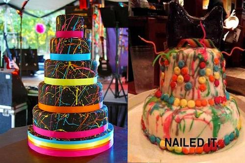 expectativa vs realidad de un pastel de diferentes colores