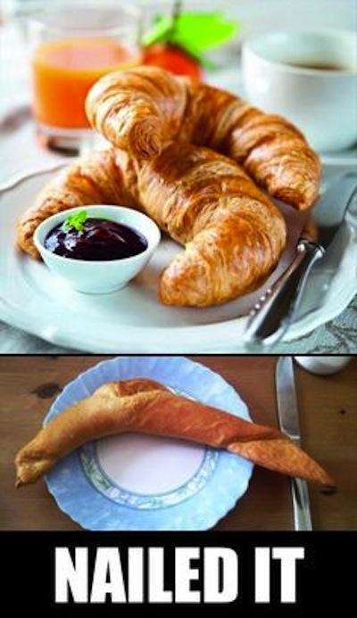 Pan en forma de cuernitos