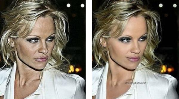 Pamela Anderson con y sin photoshop