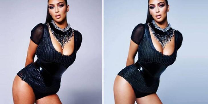 imagen de Kim Kardashian con y sin photoshop