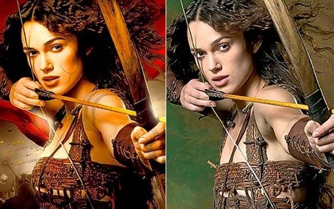 Natalie Portman en una imagen con y sin photoshop