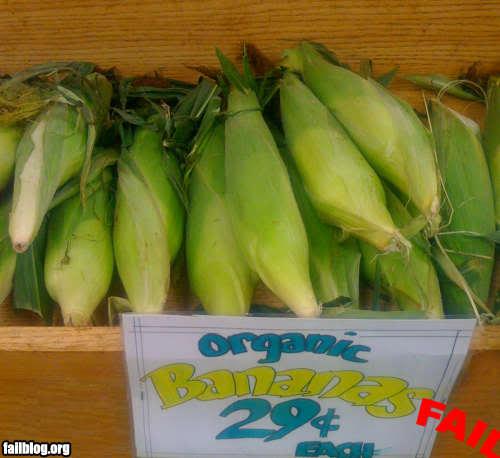 Elotes con un letrero que dice bananas orgánicas