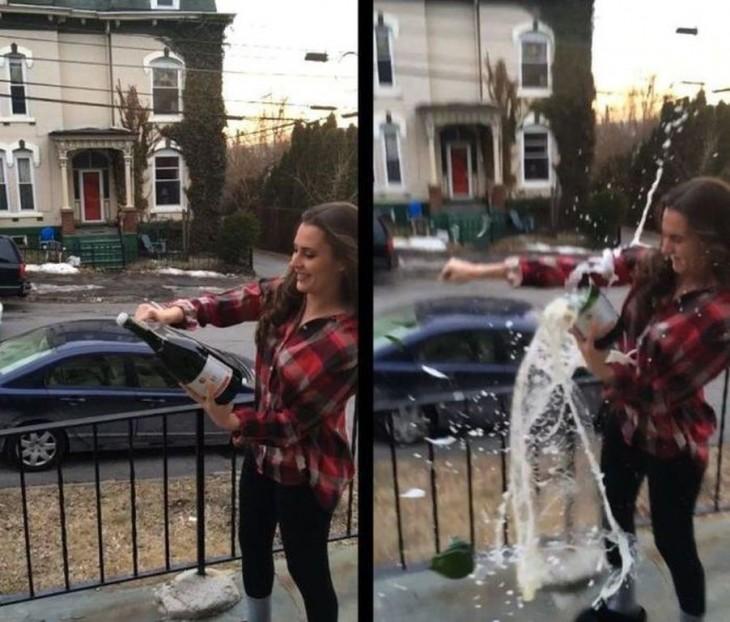 Chica que esta abriendo una botella de cidra y se rompe