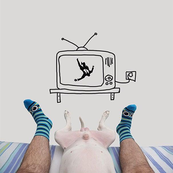Pies de una persona con el medio cuerpo de un perro frente a un dibujo de una televisión