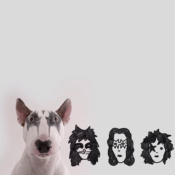 Cachorro con dibujos de las caras de los cantantes de kiss