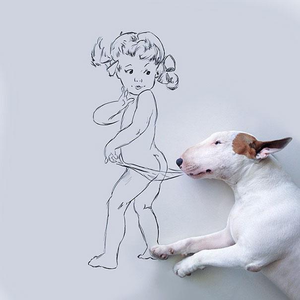 dibujo de una niña que simula que un perro estira su ropa interior