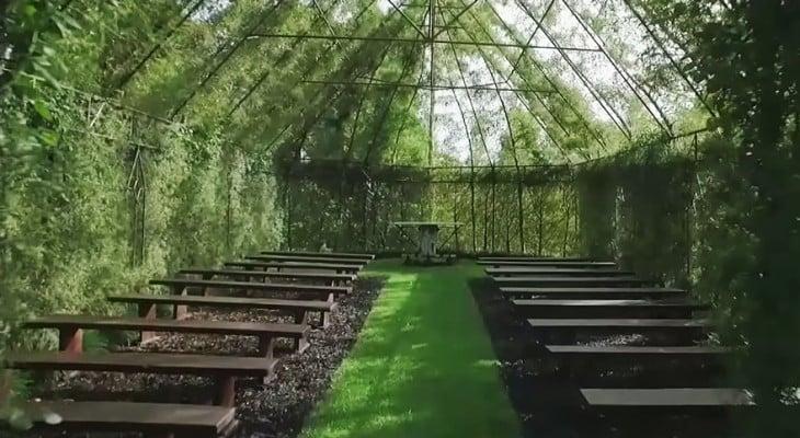 interior de laiglesia que se construyo con arboles en nueva zelanda