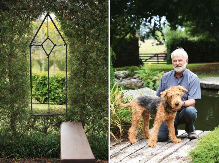 Barry cox junto a su perro e iglesia que ha construido