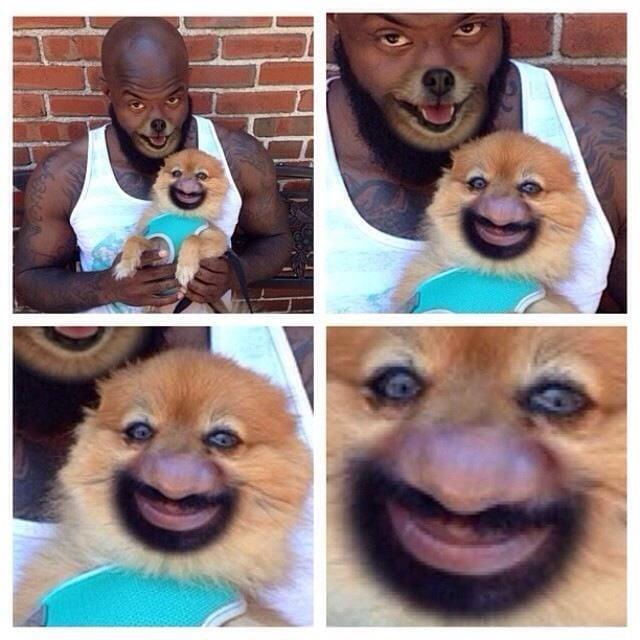Hombre con cara de perro y perro con cara de hombre