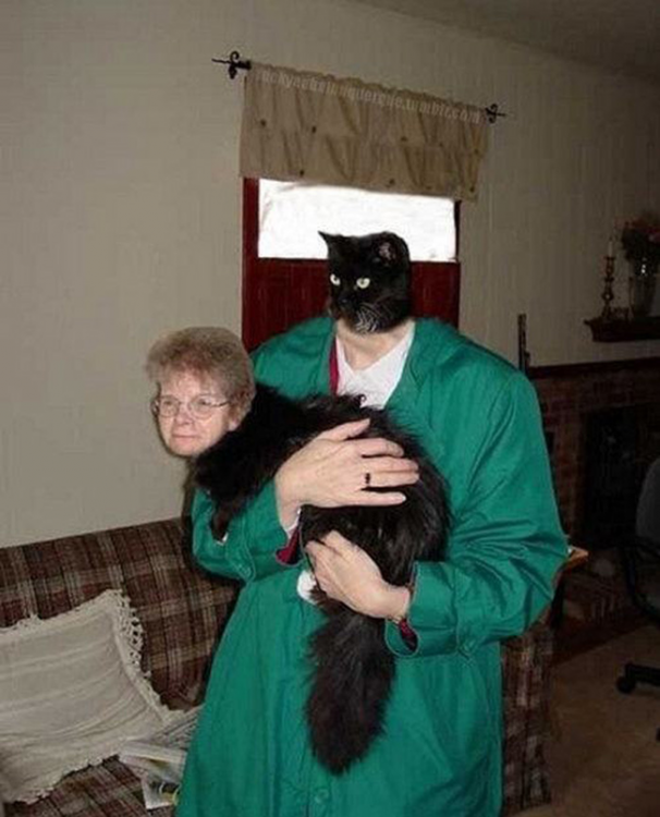 Mujer intercambiando su cabeza con la de un gato