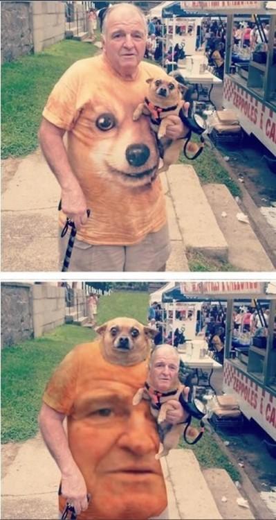 Hombre con cara de perro chihuahua y perro chihuahua con cara de hombre