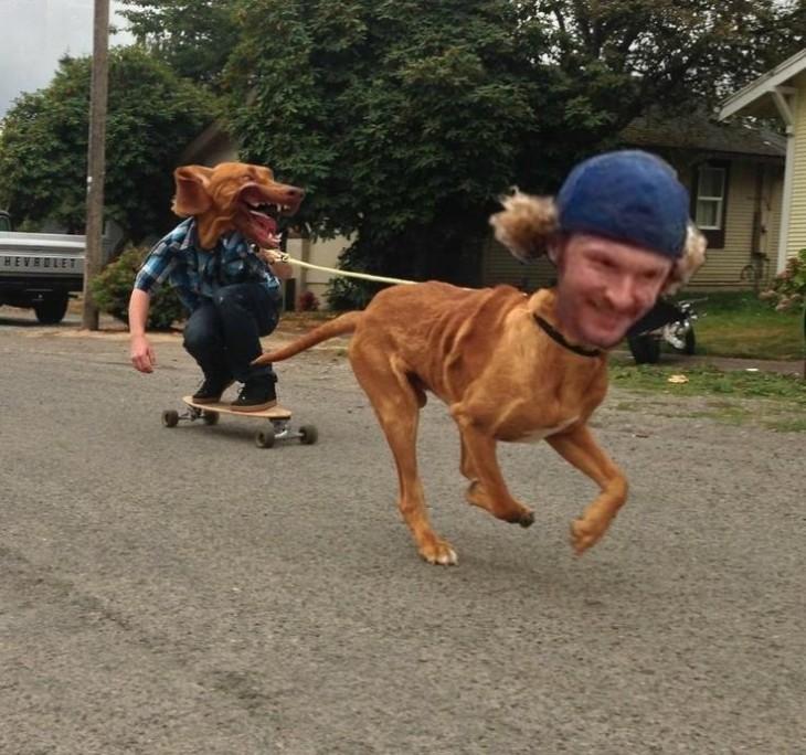 Chico en patineta con cara de perro y perro con cara de hombre