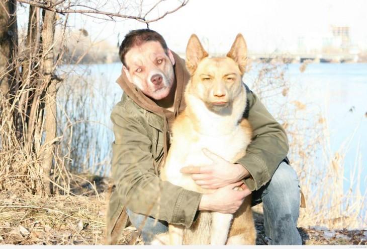 Hombre y perro intercambiando caras