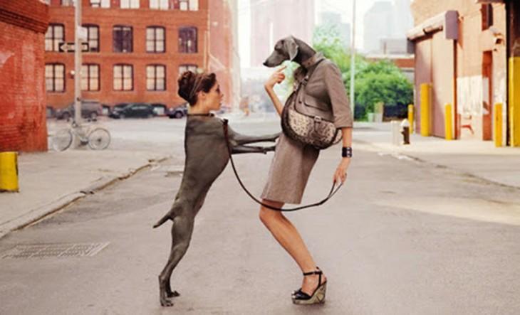 Mujer y perro intercambiando cabezas parados a la mitad de la calle