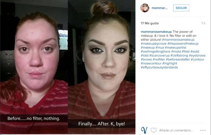 maquillaje antes y después de haberse marcado
