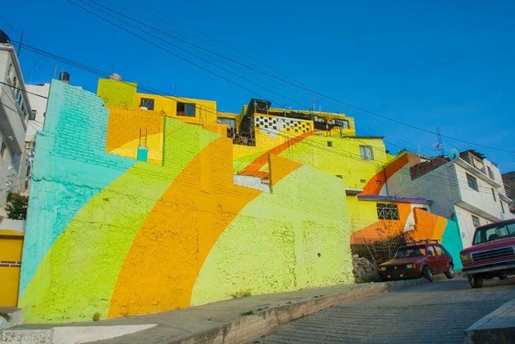 Pared de la colonia Palmitas que conforma el macromural en Pachuca Hidalgo