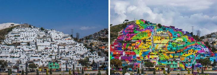 imagen dividida en dos donde la colonia Palmitas esta pintada de blanco y luego a color