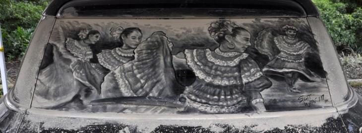 dibujo por Scott Wade en el parabrisas de unas chicas bailando