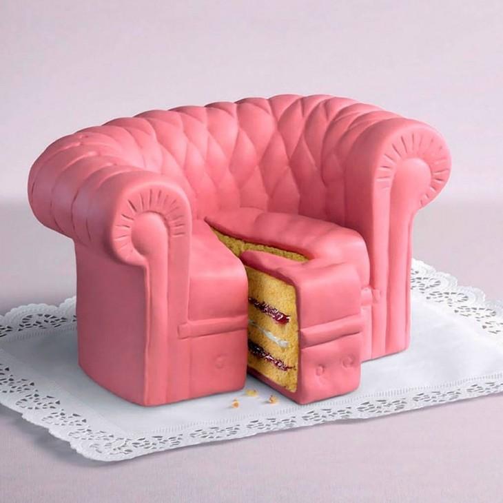 pastel de sofá color rosa