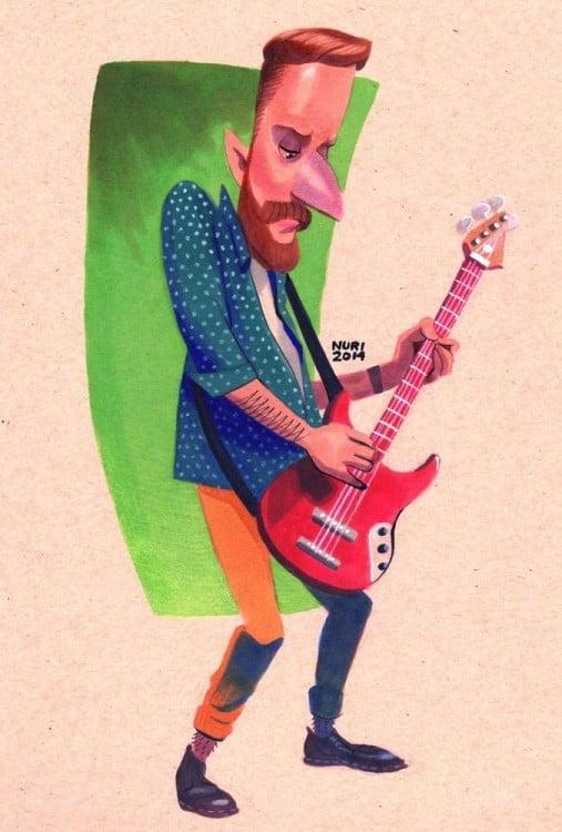 stinky personaje de caricatura de Hey Arnold que toca el bajo ahora que tiene 26 años