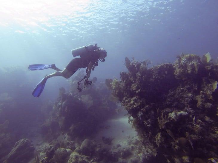 Persona buceando debajo del mar en la isla de la bahía Utila en Honduras