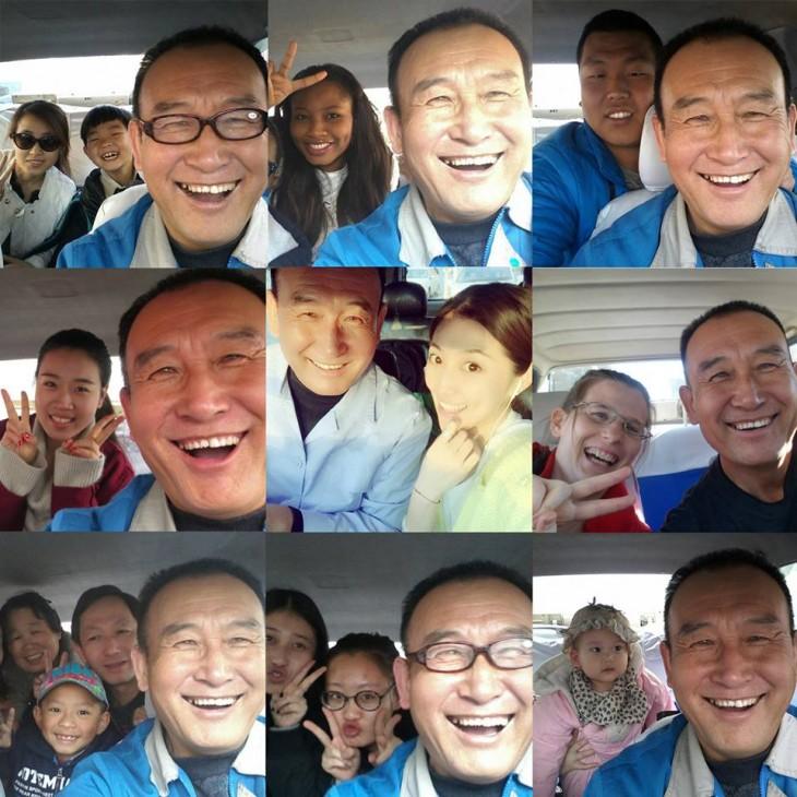 Tío Teng un taxista en China se toma selfies con sus pasajeros