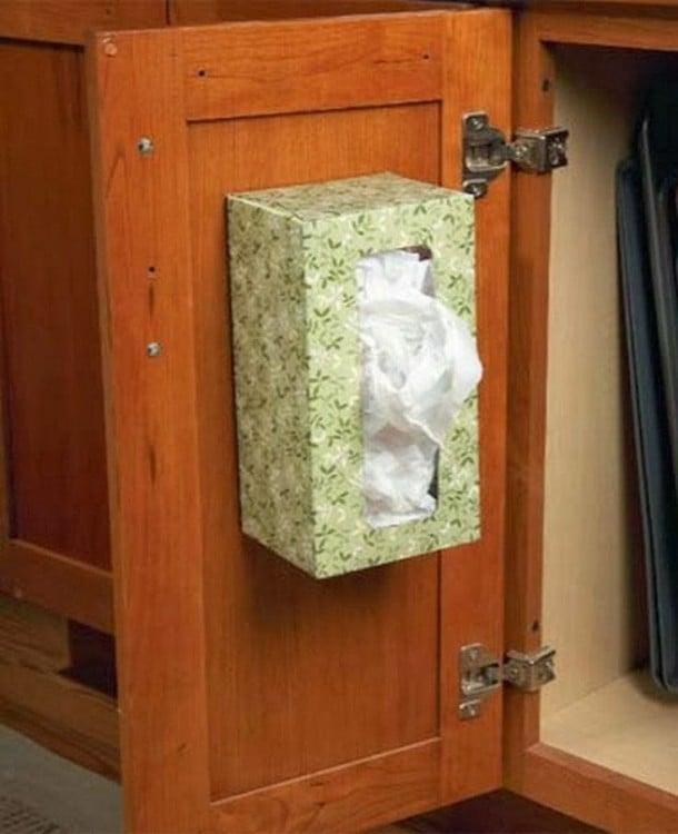 Caja de pañuelos para organizar las bolsas de plástico