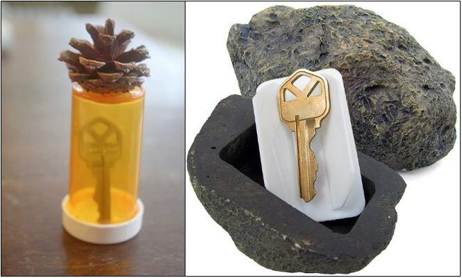 coloca una llave de repuesto en un frasco de medicina y entiérralo