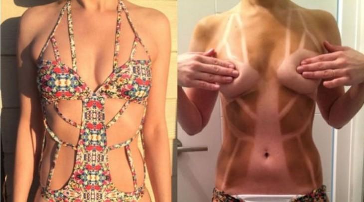 mujer se le marca un traje de baño con tiras raras
