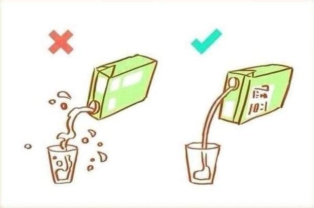 Imagen que muestra como se debe usar el empaque de leche