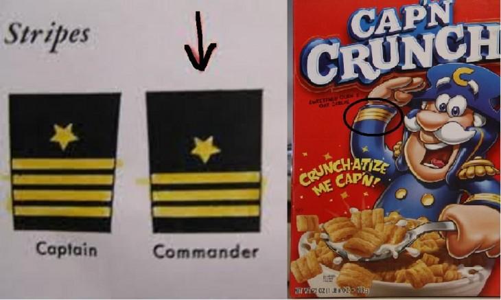 Caja de cereal Cap´n Crunch en comparación con las insignias de capitán y comandante
