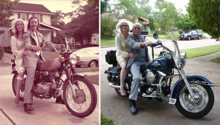 pareja celebra 40 aniversario con fotos recreadas 1975-2015