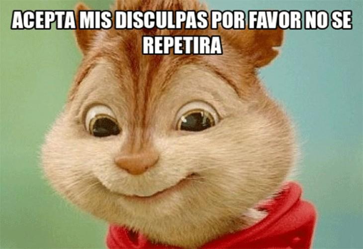 Alvin y las ardillas pidiendo disculpas