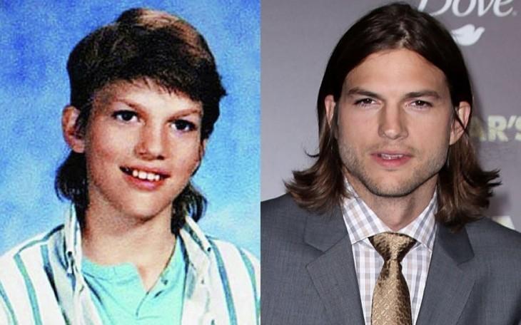 ashton kutcher antes de ser famoso en su foto del anuario