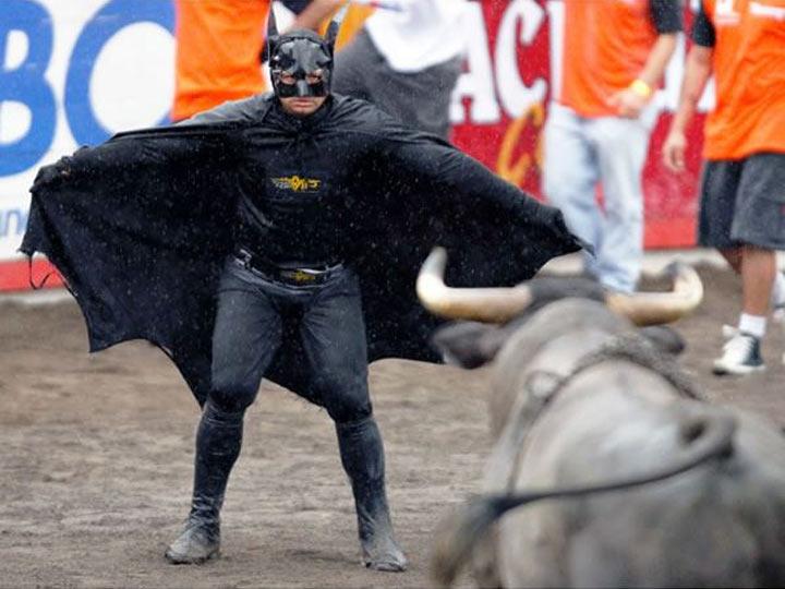 hombre vestido de batman intenta afrontar a un toro de frente