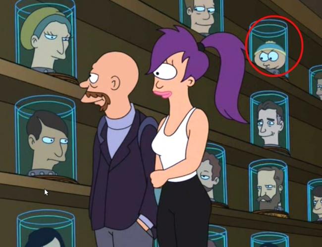 cabeza de cartman de soutrh park en futurama