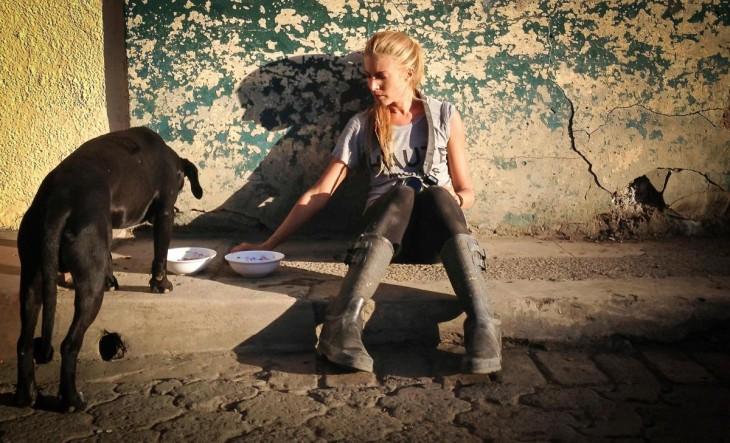 Mujer rescatando a perros de la calle