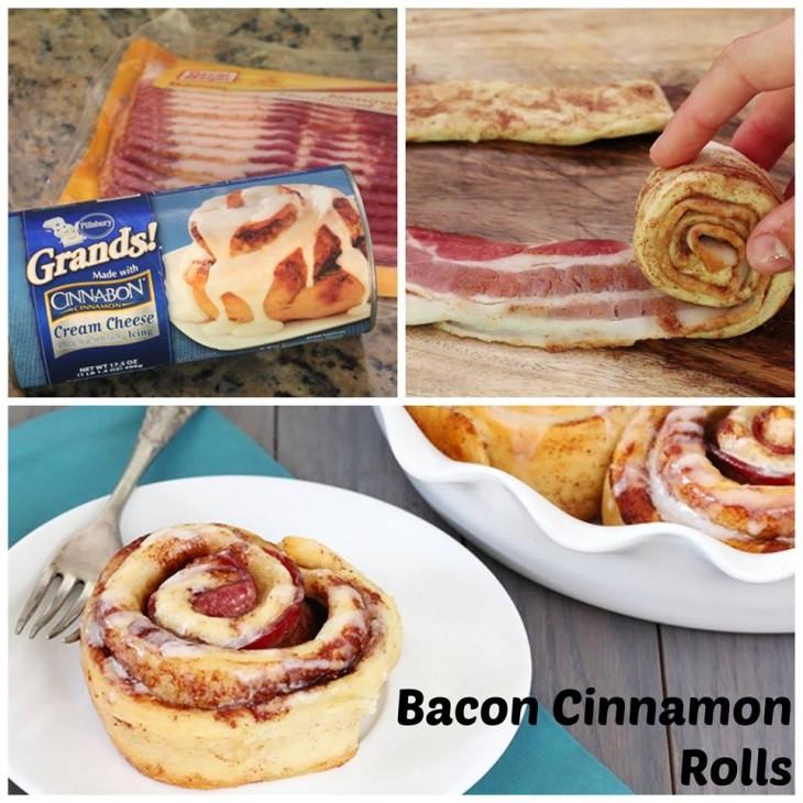 Rolos de canela recheado com bacon