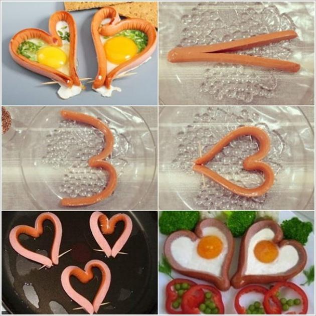 ovos fritos com cobertura de salsicha