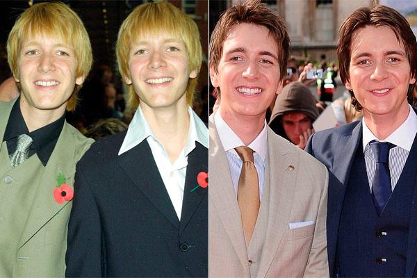 Fotografía comparación del antes y después de James y Oliver Phelps